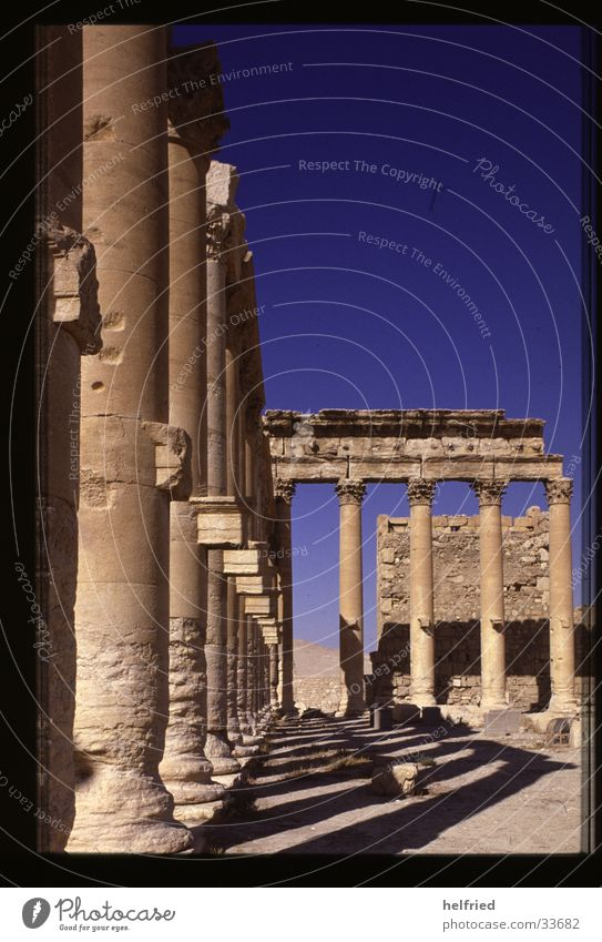 Palmyra building temple Near and Middle East Syria Arabia Architecture Baal Shamin Temple colonnade Desert