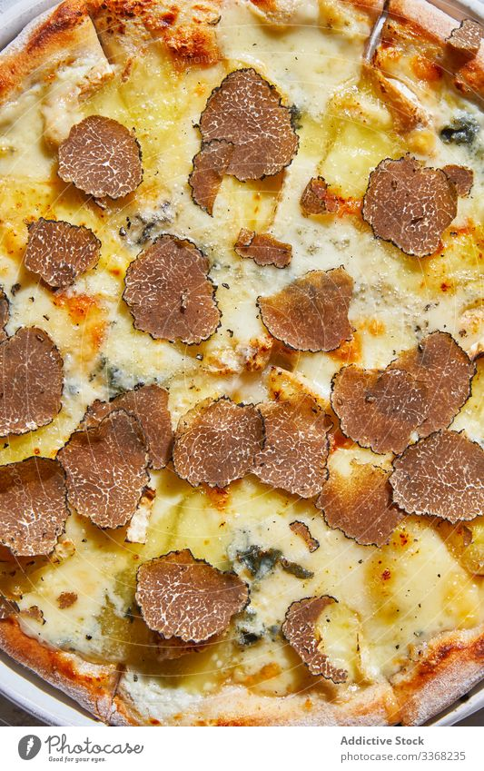 Fresh truffle on tasty pizza slice restaurant table cuisine dinner fine food luxury dish meal expensive gourmet plate lunch excellent shaver tool cafe