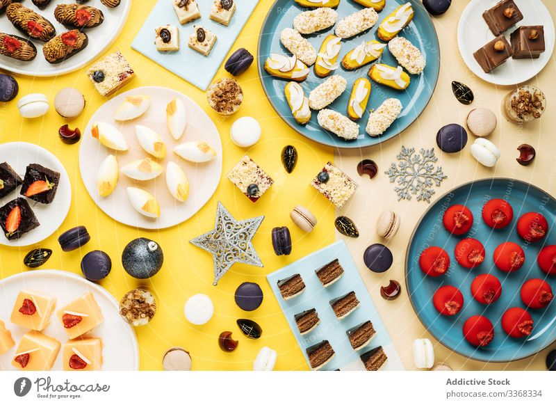 Various desserts and Christmas decorations christmas pastry various holiday winter sweet food plate set collection many cookie cake biscuit xmas homemade