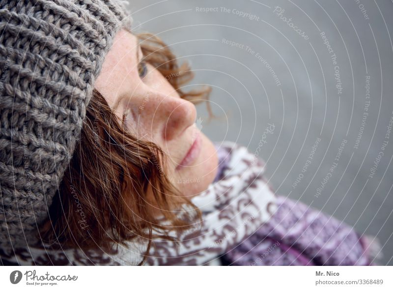 Portrait bird's-eye view - 2 - Sympathy Warm-heartedness Lifestyle Curl Contentment Fashion pretty Natural Accessory Hair and hairstyles Cap Scarf Freckles Skin