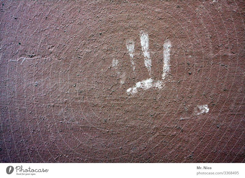 printed product | leaves traces by hand Fingers Wall (barrier) Wall (building) squeeze give me five Fingerprint stop leave traces Eternalized handprint