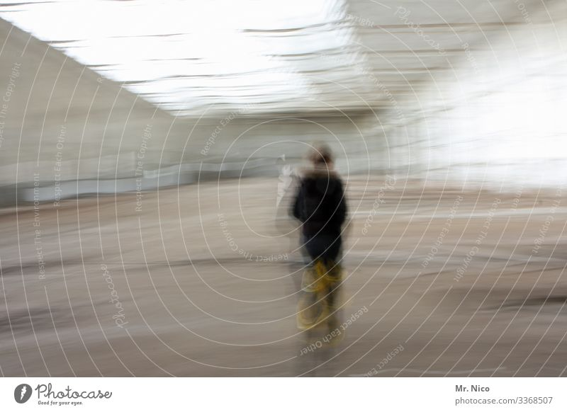 Undetected by the image Abstract Experimental Diffuse Blur Interior shot hazy Movement Motion blur Warehouse person Exceptional Rear view Surrealism