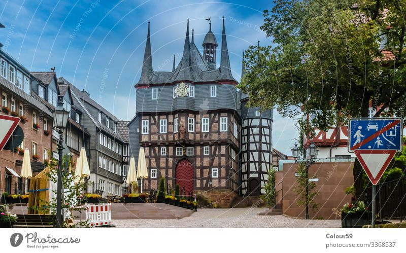 Historical town hall Landscape Small Town Downtown Old town Deserted Marketplace City hall Tourist Attraction Landmark Monument Flag Culture Frankenberg Eder