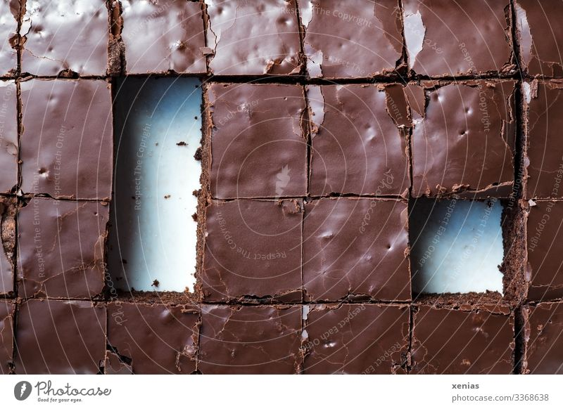 Square cut brownies Chocolate cake Food Cake Candy Nutrition Buffet Brunch Organic produce Vegetarian diet Sharp-edged Delicious cute Brown White Cut Part