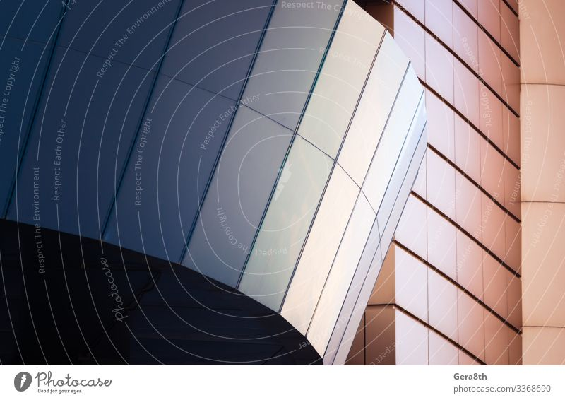 wall of a modern blue building on a white background Style Design House (Residential Structure) Office Business Building Architecture Facade Line Simple Modern