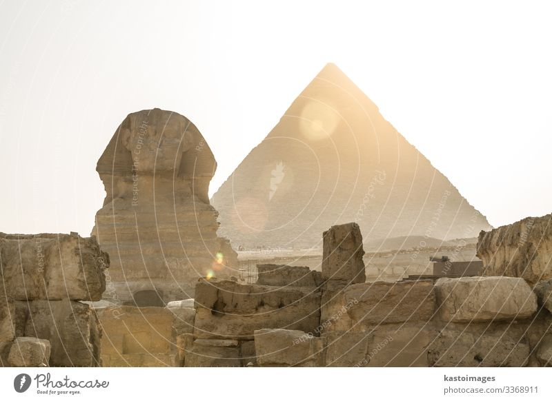 Ancient Egyptian Pyramid of Khafre Giza and Great Sphinx. Vacation & Travel Tourism Sightseeing Culture Landscape Sand Earth Sky Ruin Architecture Monument