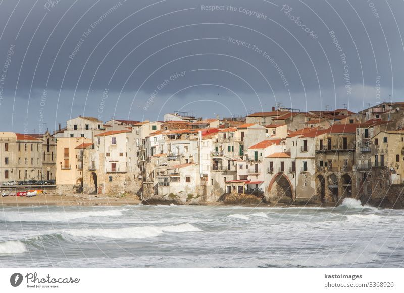 European Coastal travel townof Cefalu in Sicily, Italy. Beautiful Vacation & Travel Tourism Trip Summer Sun Beach Ocean Waves House (Residential Structure)