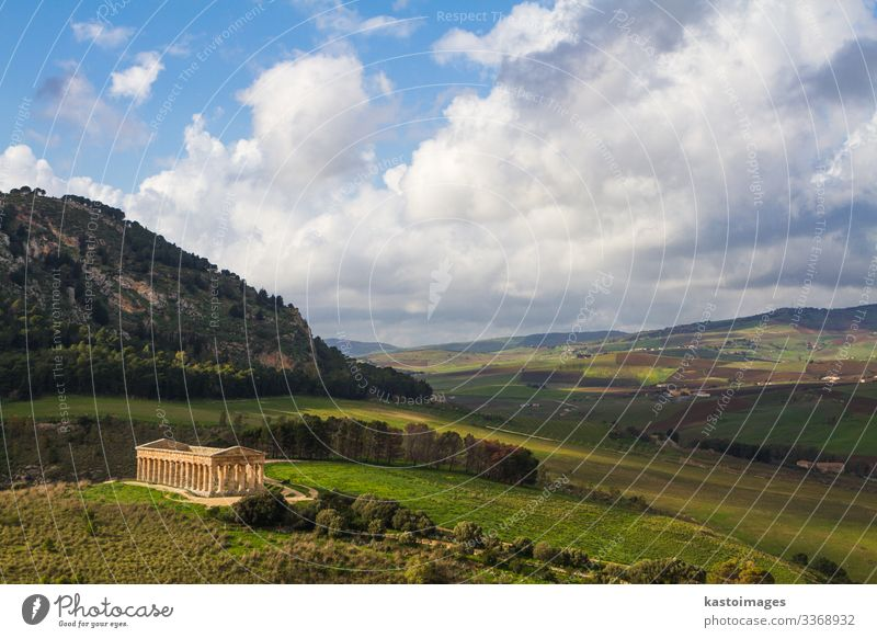 Landscape of Sicily and ancient greek temple in Segesta, Italy Vacation & Travel Tourism Winter Culture Sky Meadow Hill Ruin Places Building Architecture
