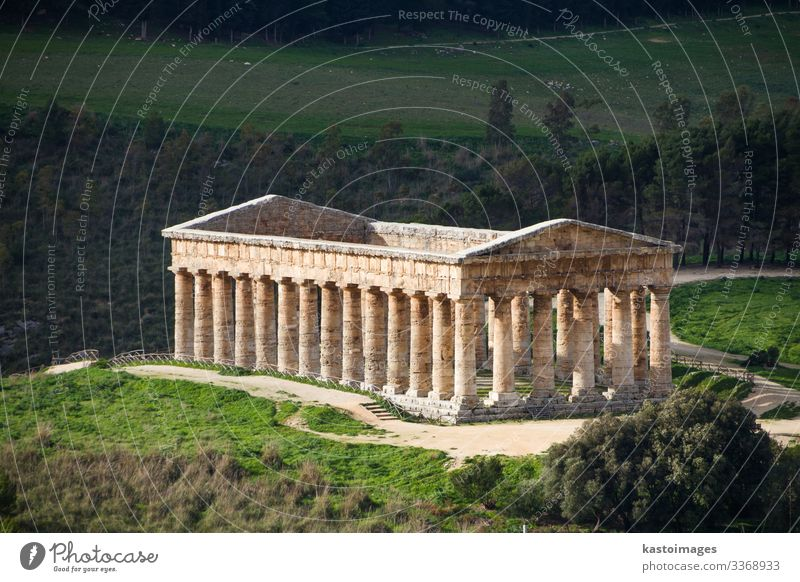 Segesta, ancient Greek temple, Sicily, Italy. Vacation & Travel Tourism Sightseeing Culture Sky Hill Rock Ruin Places Building Architecture Monument Stone Old