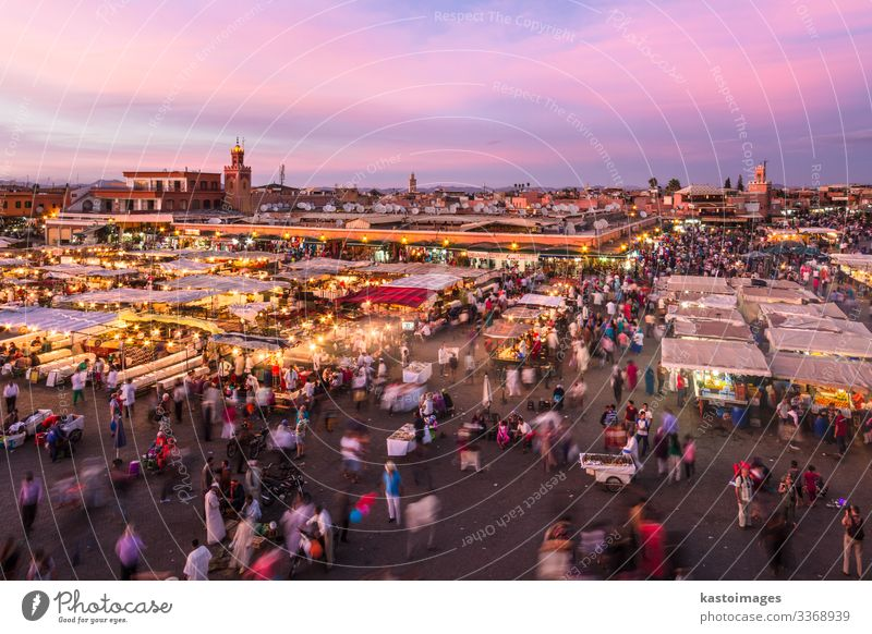 Jamaa el Fna square in sunset, Marrakesh, Morocco, Africa. Vacation & Travel Tourism Trip Business Culture Landscape Town Places Building Tradition market jamaa