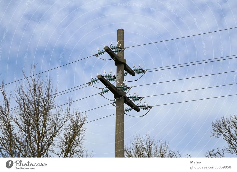 power pole Electricity pylon Wire Blue Sky Line Pylon Silhouette Cable Energy industry Industry Metal Steel Tower Dangerous Risk Technology Tall Net Generator