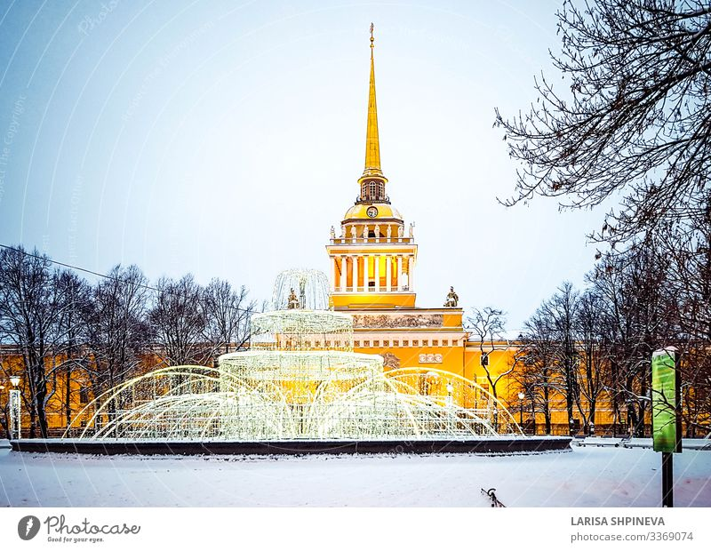 Spire of Admiralty building winter, Saint Petersburg, Russia Beautiful Vacation & Travel Tourism Winter Snow Culture Landscape Sky Tree Palace Building