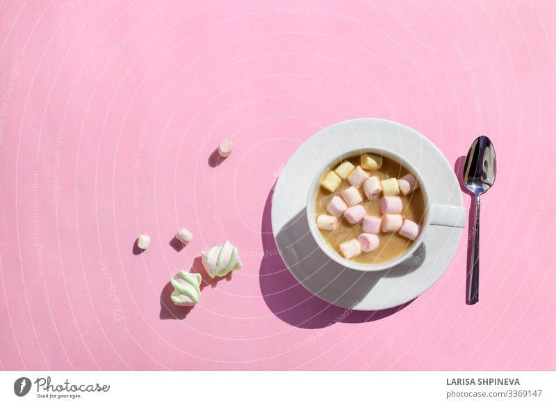 Cup of hot coffee with marshmallows on pink, top view Dessert Breakfast Beverage Hot Chocolate Coffee Table Warmth Love Delicious Brown Pink White cup Top mug