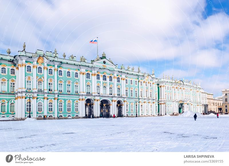Winter Palace Hermitage Museum at snow winter in St Petersburg Vacation & Travel Tourism Snow Culture Sky Town Building Architecture Facade Monument Old