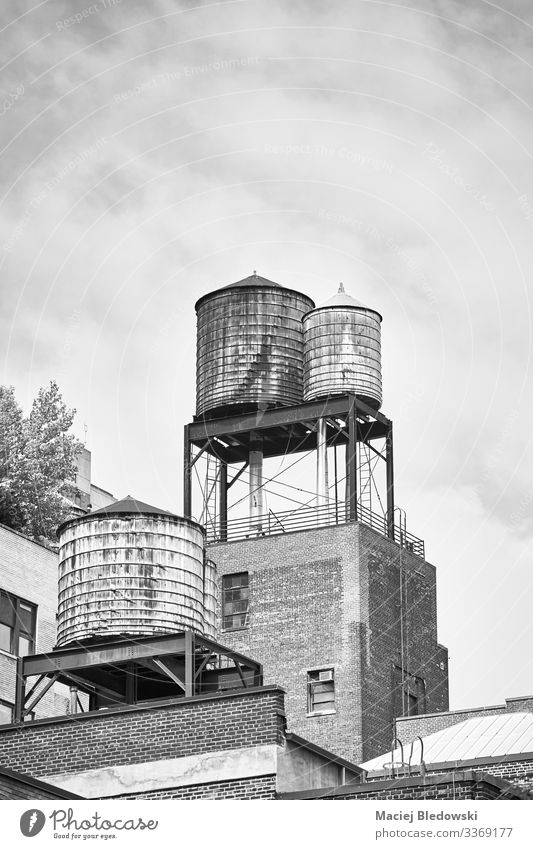 Black and white picture of water tanks in New York. Flat (apartment) House (Residential Structure) Manmade structures Building Architecture Roof Old SME