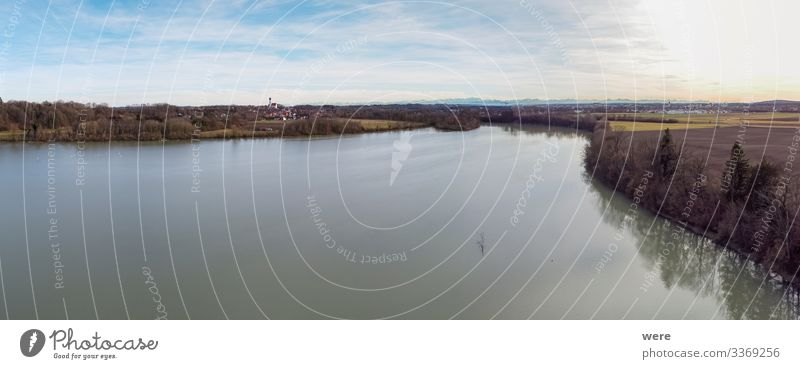 View over the Lech barrage 18 at Kaufering Nature Large Infinity view bird sanctuary copy space fishing lake landscape natural no people pent-up