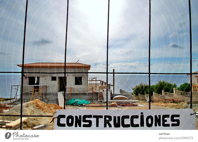 Majorca | Building site, new building villa at the sea Spain Balearic Islands Construction site construction boom Villa sea view first row cordon Hoarding sign