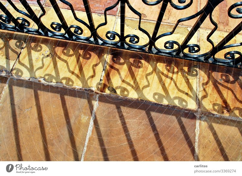 Wrought-iron gate with shadow cast on terracotta tiles Spain Balearic Islands Majorca Goal Wrought iron Metal decoration Curlicue Sunlight Shadow slabs Rust