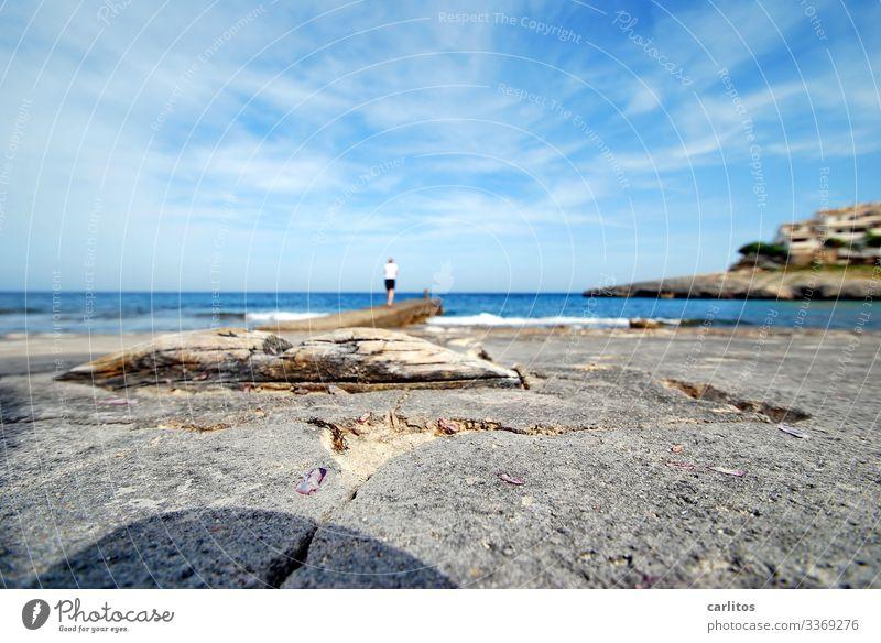 Blurred picture of a sharp woman Spain Majorca holidays Tourism Shallow depth of field Ocean Mediterranean sea Mole rock Horizon wide Coast bank Water Summer