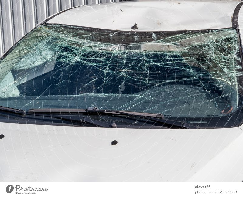 Car with broken windshield Transport Street Vehicle Safety Dangerous Insurance Destruction accident Claim Collision Crack & Rip & Tear crash Crushed damage