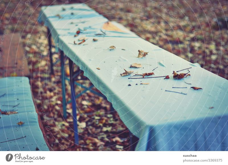 the tables are empty | chamansülz Empty Deserted Lonely forsake sb./sth. Firm Festive set Seating Bench Table tablecloth Exterior shot Loneliness Wooden bench