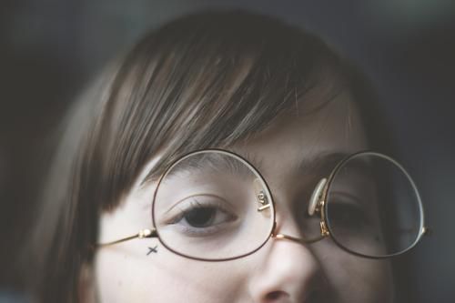 upside down (1) Girl Youth (Young adults) Young woman teenager Face Eyes Nose Eyeglasses Looking Bangs Hair and hairstyles