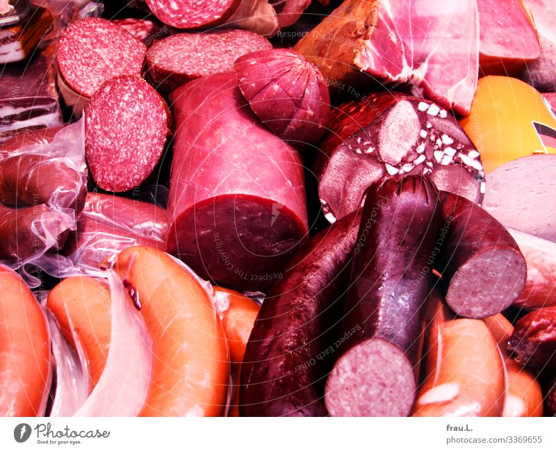 sausage Food Meat Sausage Nutrition Red Butcher Small sausage Ham Surplus Markets Colour photo Exterior shot Day