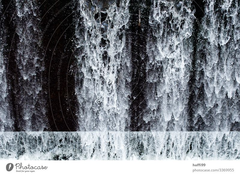 Waterfall with abstract water forms, drops, splashes in front of a black background Elements Drops of water Esthetic Exceptional Dark Fluid Fresh Cold Wet Clean