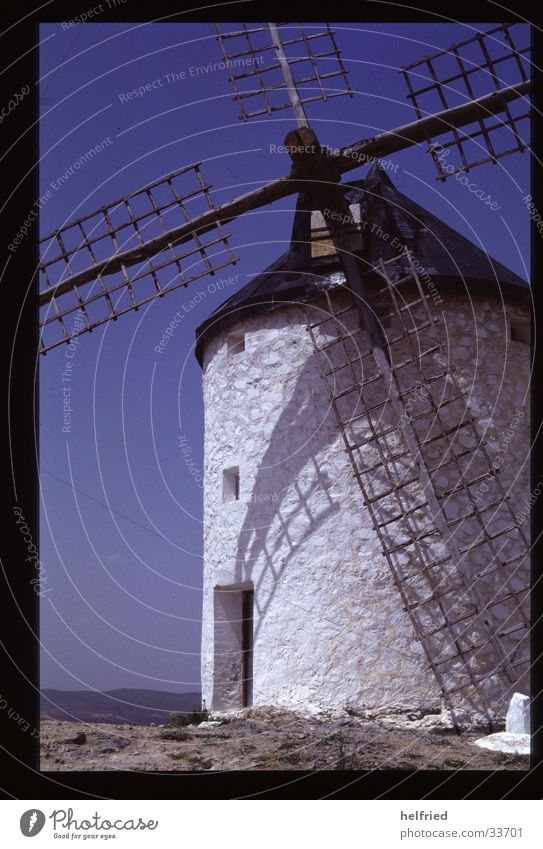 windmill Europe Spain Catalonia Windmill Craft (trade) Cloudless sky White Windmill vane Deserted Shadow