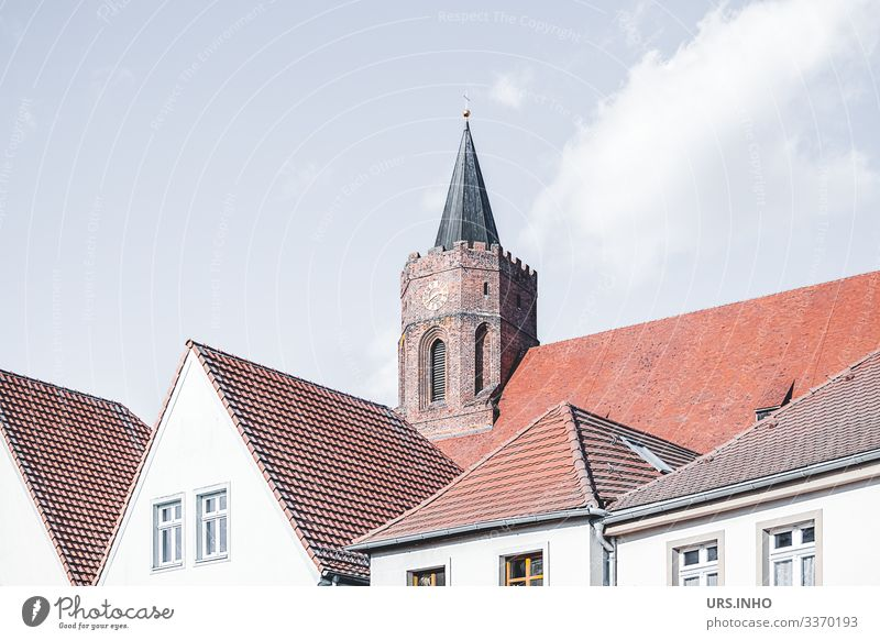Church tower behind the roofs of houses Beeskov Germany Europe Small Town Deserted House (Residential Structure) Window Roof Tower Gable roof hipped roof Above