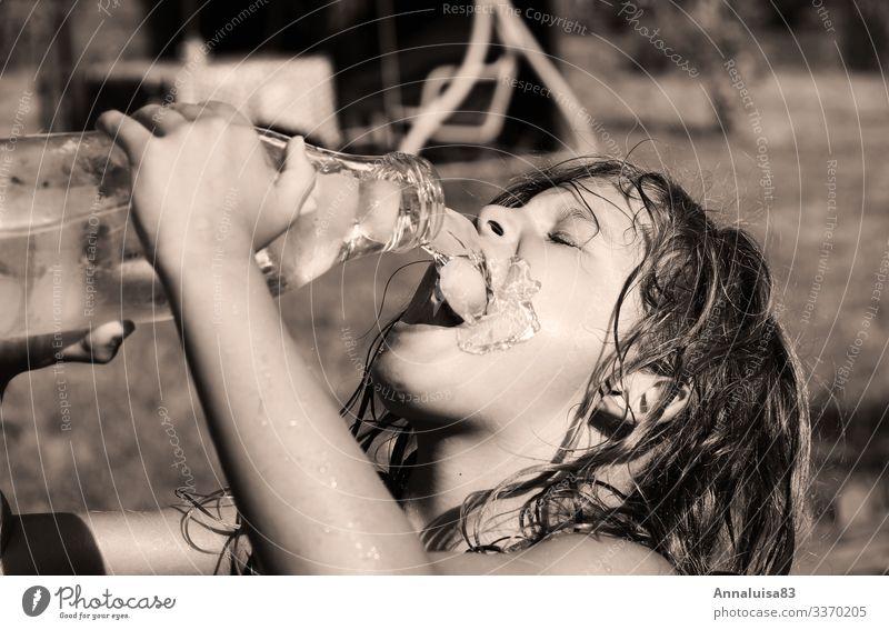 Child Human being Summer Girl Feminine Meadow Garden Park Sweet Infancy Beautiful weather Drinking water Delicious Beverage Fluid