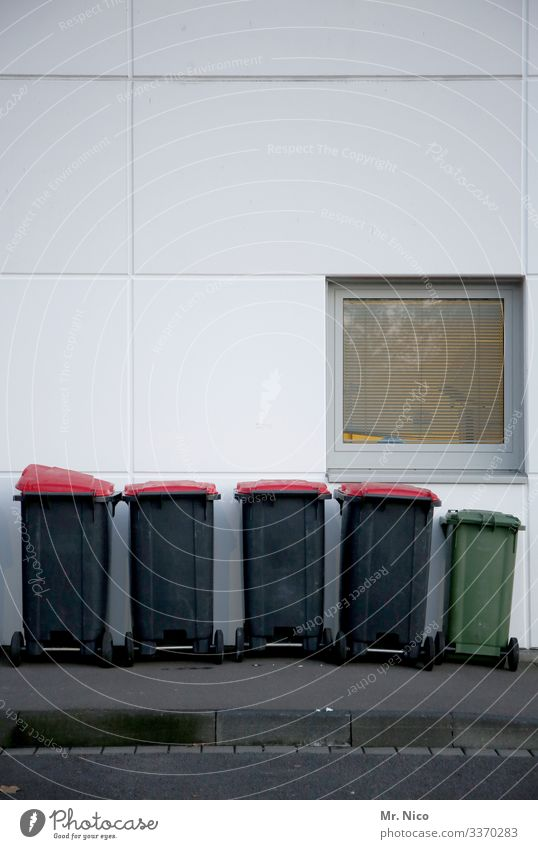 dustbins waste waste disposal Wall (building) Facade Trash Recycling Trash container Ecological Environmental protection Red Green Gray Window Sidewalk Street