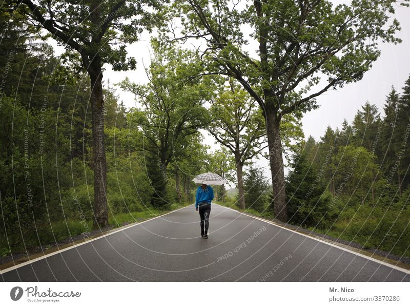 Young woman walking on the country road Street Avenue Country road go for a walk Umbrella Loneliness Lanes & trails Landscape Traffic infrastructure Environment