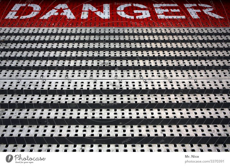 Danger White Dangerous lines metal floor Carousel show business Floor covering funfair Fairs & Carnivals Warning sign Slippery surface Signage