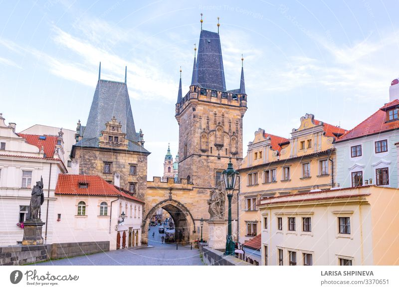 Charles bridge, old towers and statues at sunrise, Prague Style Vacation & Travel Tourism Culture Landscape Town Church Castle Places Bridge Architecture Stone
