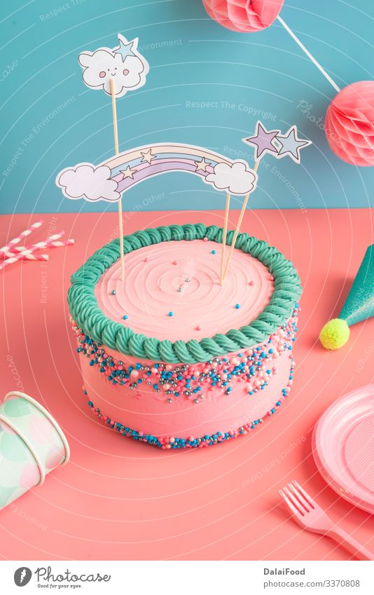 Birthday cake for boys and girls with glasses Dessert Plate Fork Decoration Feasts & Celebrations Child Diet Anniversary baby shower background Blue background