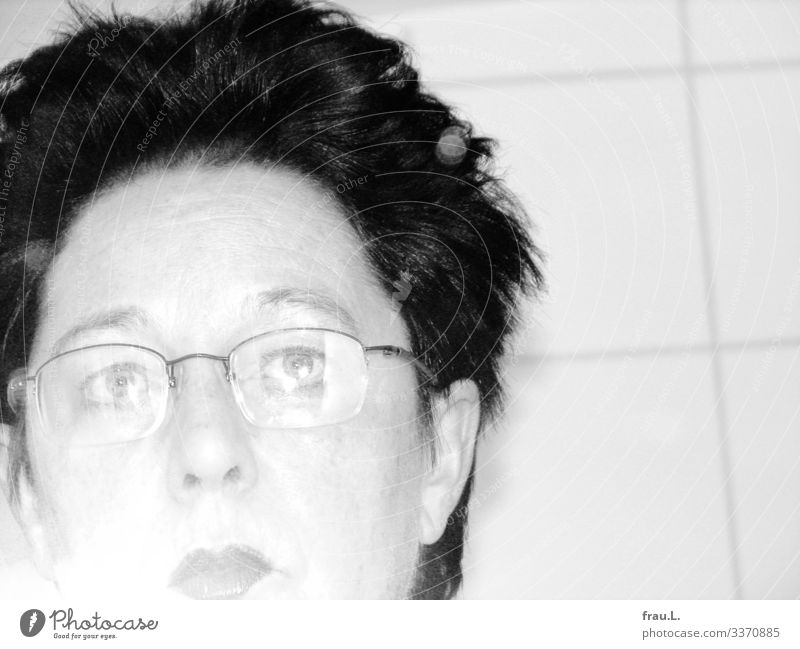 First selfie Bathroom Human being Feminine Woman Adults Face 1 45 - 60 years Eyeglasses Hair and hairstyles Short-haired Looking Trashy Flash photo Releases
