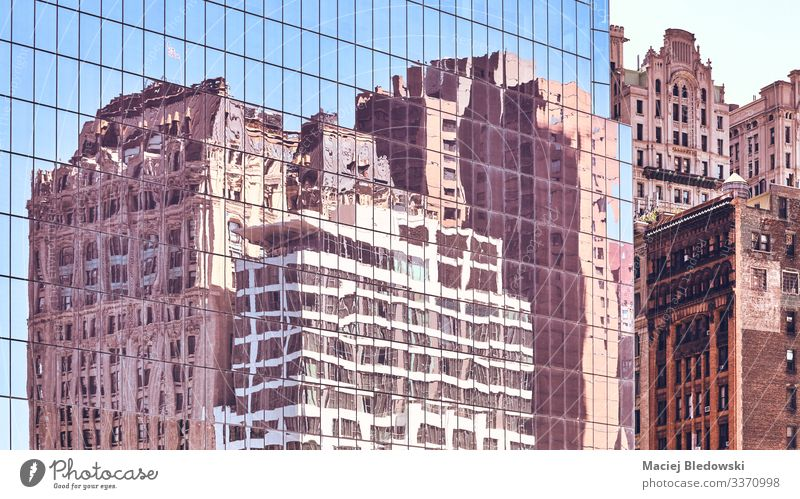 New York old buildings reflected in windows. Elegant Style Design Sightseeing City trip Living or residing Flat (apartment) House (Residential Structure) Office