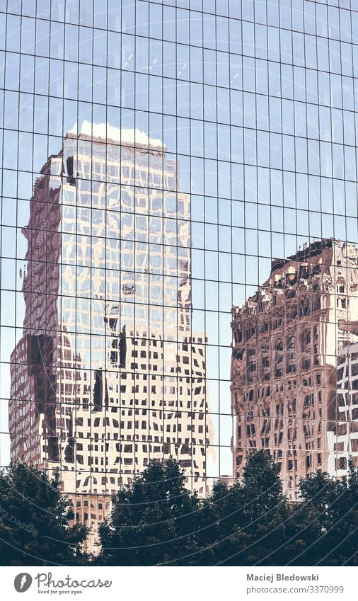 New York old buildings reflected in windows. Shopping Luxury Elegant Style Sightseeing City trip Living or residing Flat (apartment) Office Town High-rise