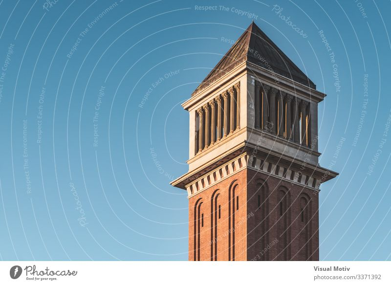 Venetian tower at sunset under a blue sky Landscape Sky Capital city Building Architecture Brick Colour Blue sky venetian venetian tower Sunset Afternoon