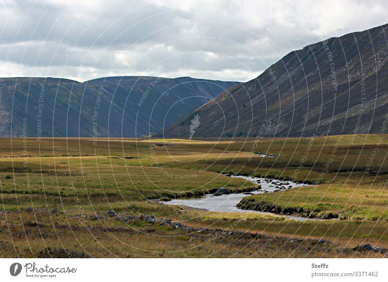 Scottish glen with a stream Scotland Mysterious Scottish countryside Hill silent mysterious landscape Loneliness heaven and earth Scottish weather Nordic Brook