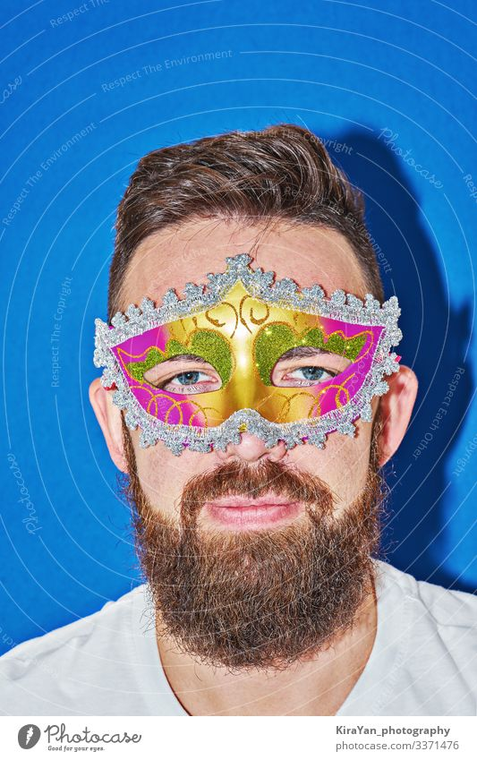 Closeup portrait of man in Mardi gras masquerade mask Elegant Joy Face Leisure and hobbies Feasts & Celebrations Man Adults Eyes Lips Art Theatre Accessory