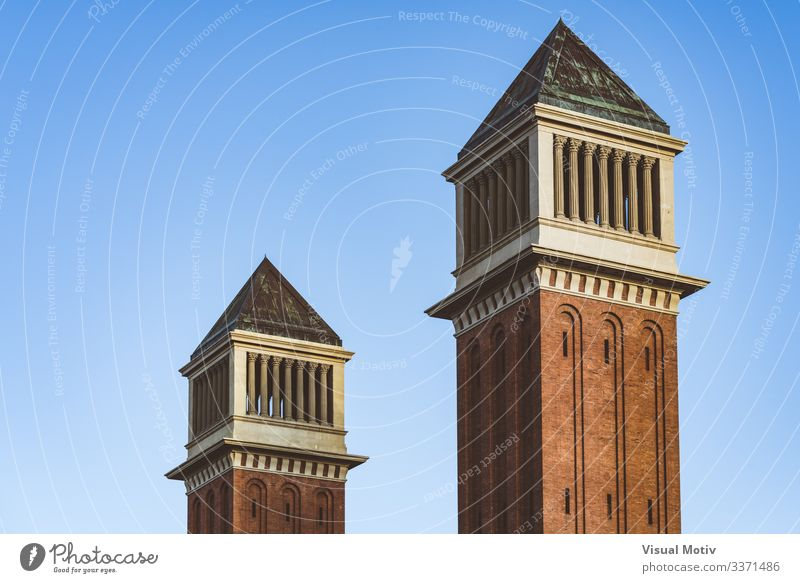 Twin Venetian towers under a blue sky Landscape Sky Capital city Building Architecture Brick Colour twin venetian towers Blue sky Sunset Barcelona City urban