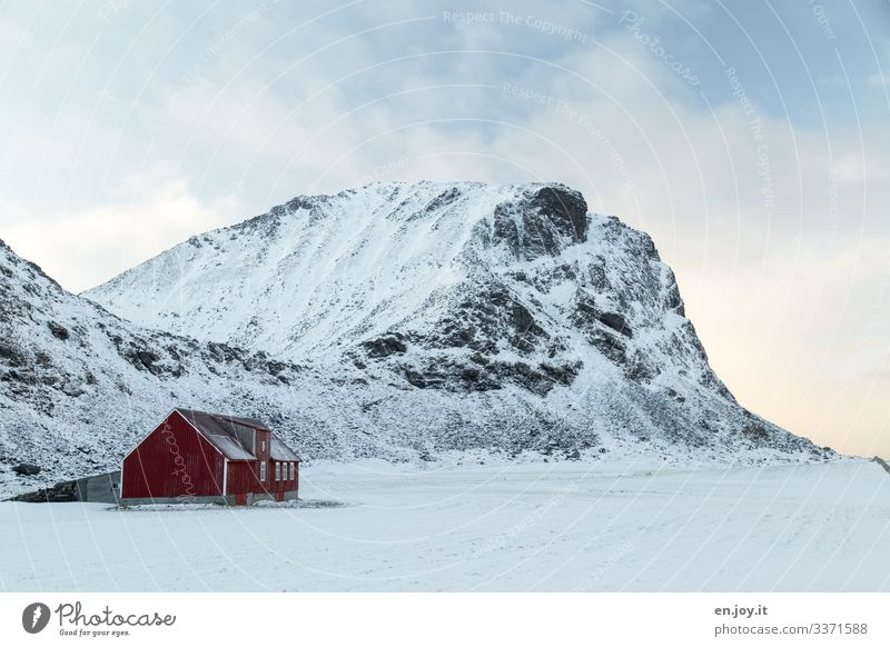 Sheep pen Vacation & Travel Winter Snow Nature Landscape Clouds Ice Frost Rock Mountain Snowcapped peak Norway Scandinavia Lofotes House (Residential Structure)