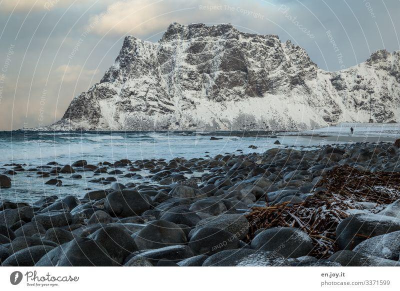 uttacleiv Vacation & Travel Tourism Beach Ocean 1 Human being Nature Landscape Winter Rock Mountain Snowcapped peak Waves Coast Lofotes Scandinavia Norway