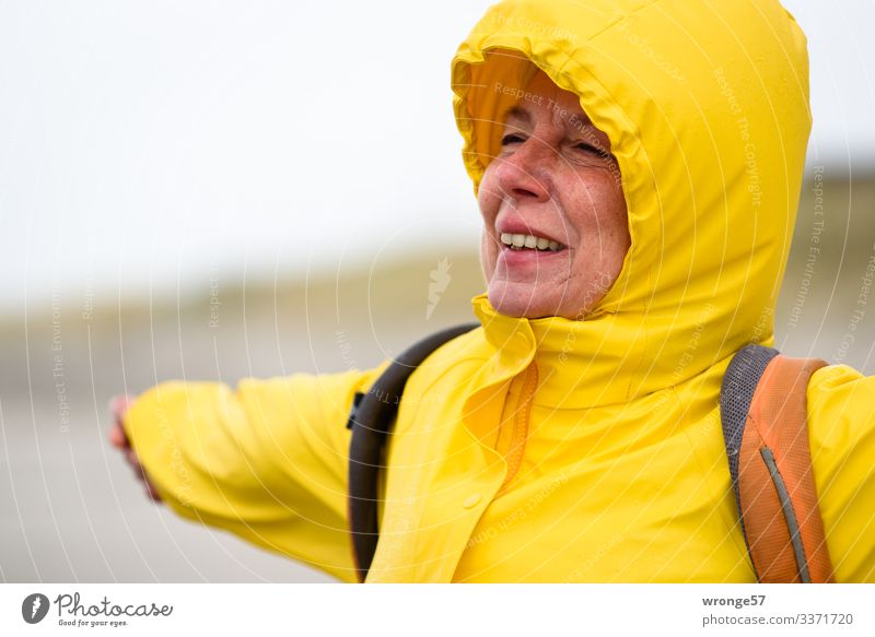 Lift off | Start attempt Vacation & Travel Freedom Beach Human being Feminine Woman Adults Female senior 1 45 - 60 years Autumn Bad weather Storm Wind Gale Rain