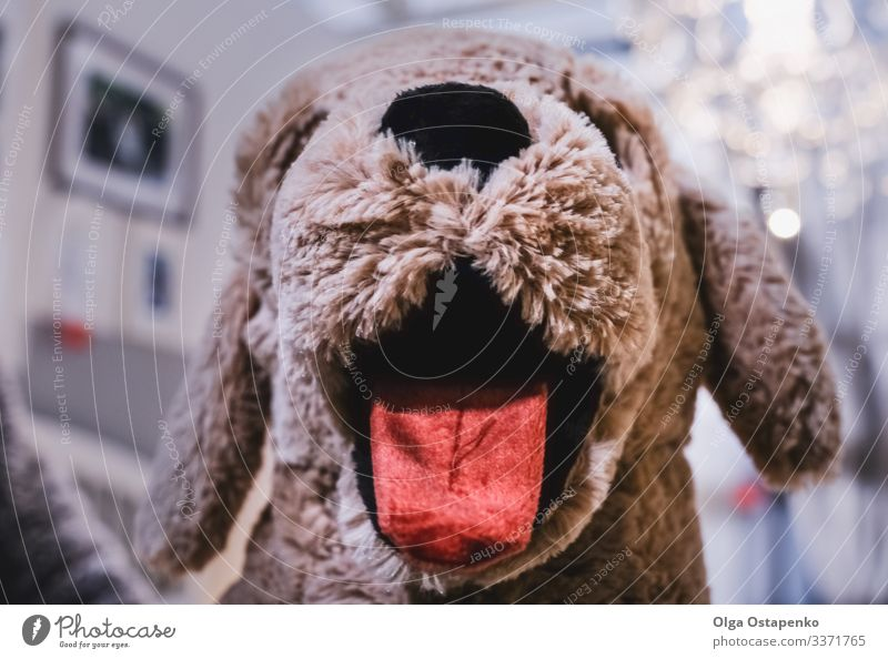 Kids toy dog with tongue stuck out Toys Tongue Thread Infancy Dog Cute Child Brown Soft Stuffed nose Pet Face Playing Charming Sweet Lovely Small Eyes Animal