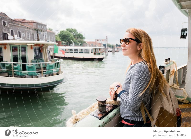 Young woman on the tour boat in Venice, Italy Lifestyle Joy Vacation & Travel Tourism Trip Sightseeing City trip Cruise Human being Feminine