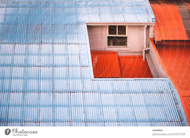 attic Roof Attic story Corrugated iron wall Window Rain gutter Blue Orange Deserted