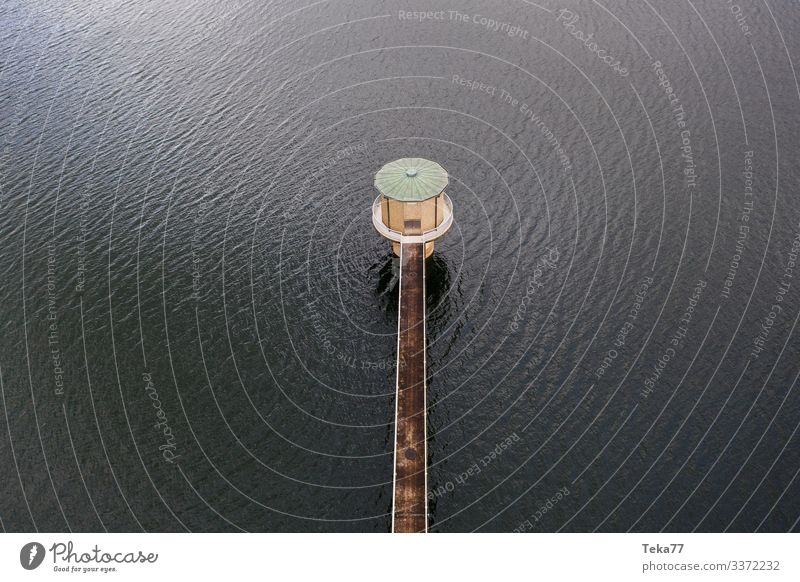 #Tower of the dam from above Food Beverage Drinking water Winter Environment Nature Landscape Coast Lakeside Esthetic River dam Water tower Colour photo